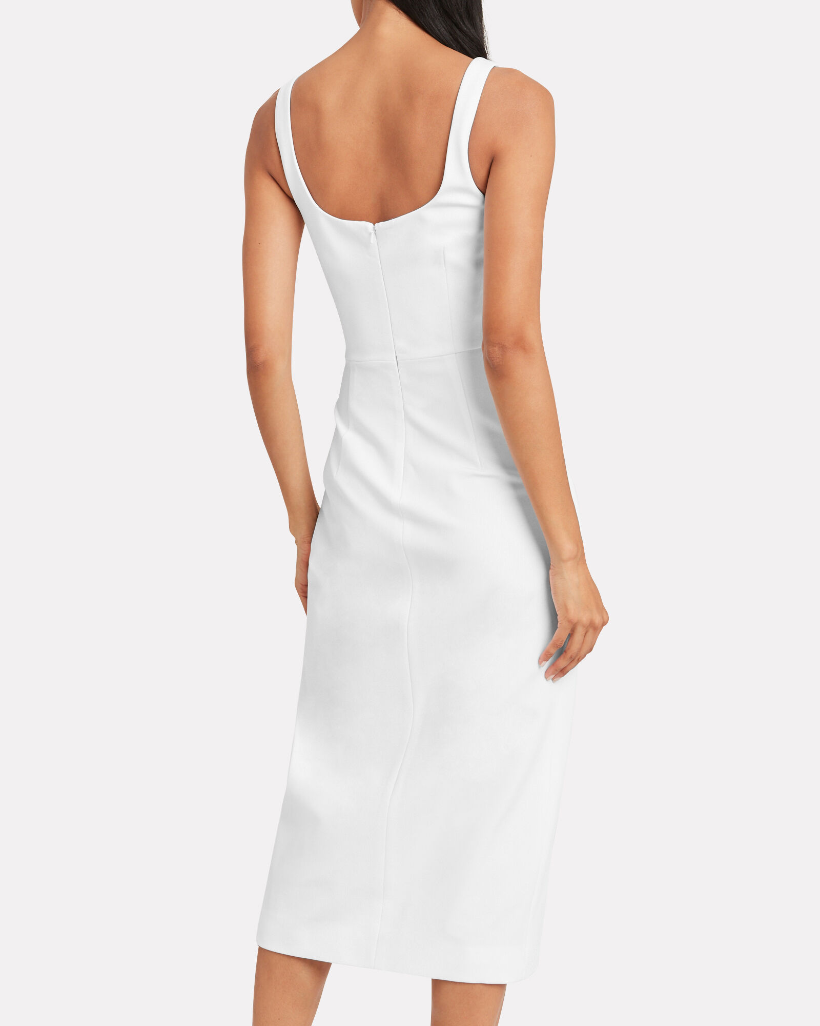 Square Neck Stretch Crepe Dress, WHITE, hi-res