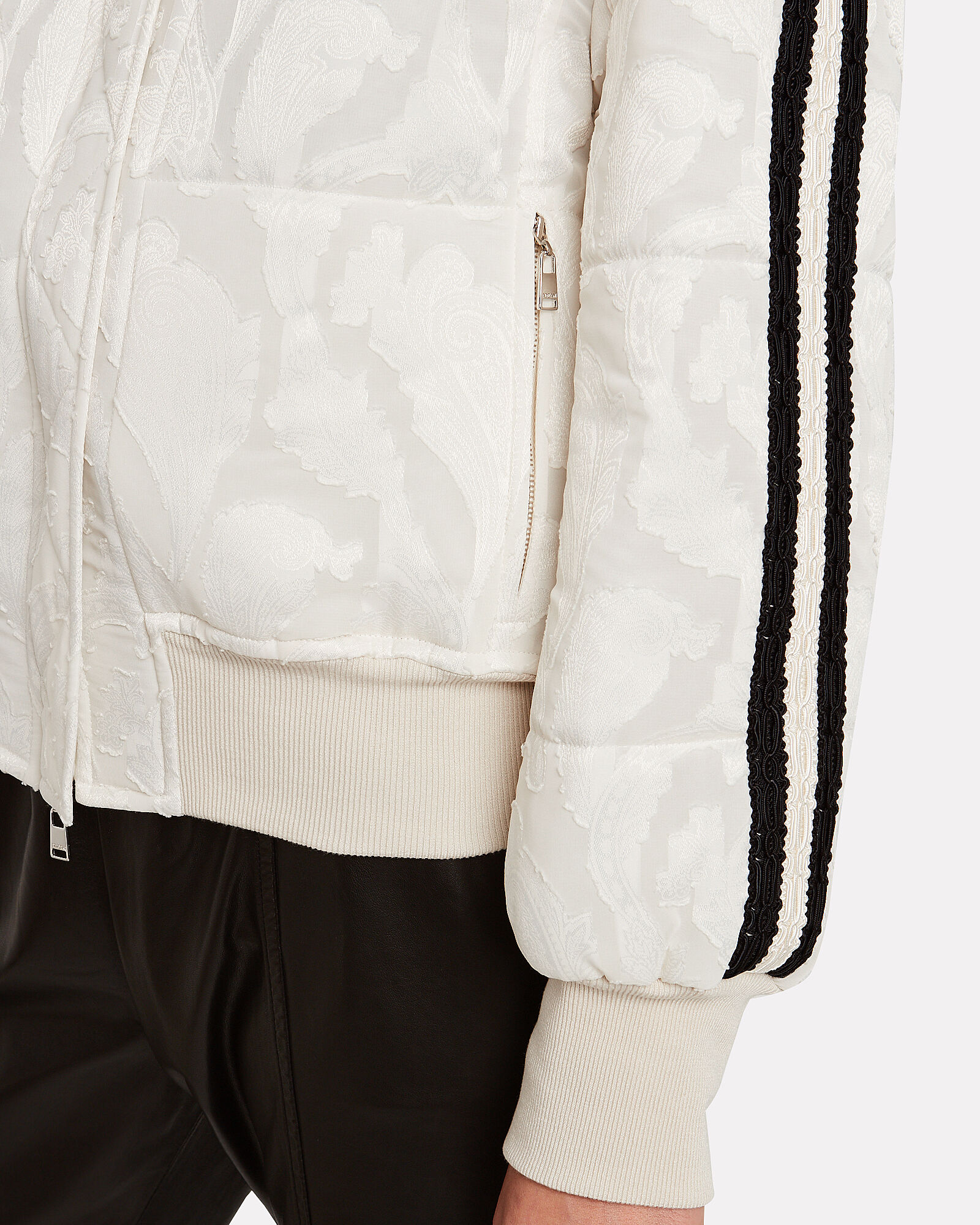 Quilted Paisley Bomber Jacket, IVORY, hi-res