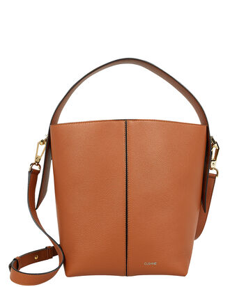 Brown Leather Bucket Bag, BROWN, hi-res