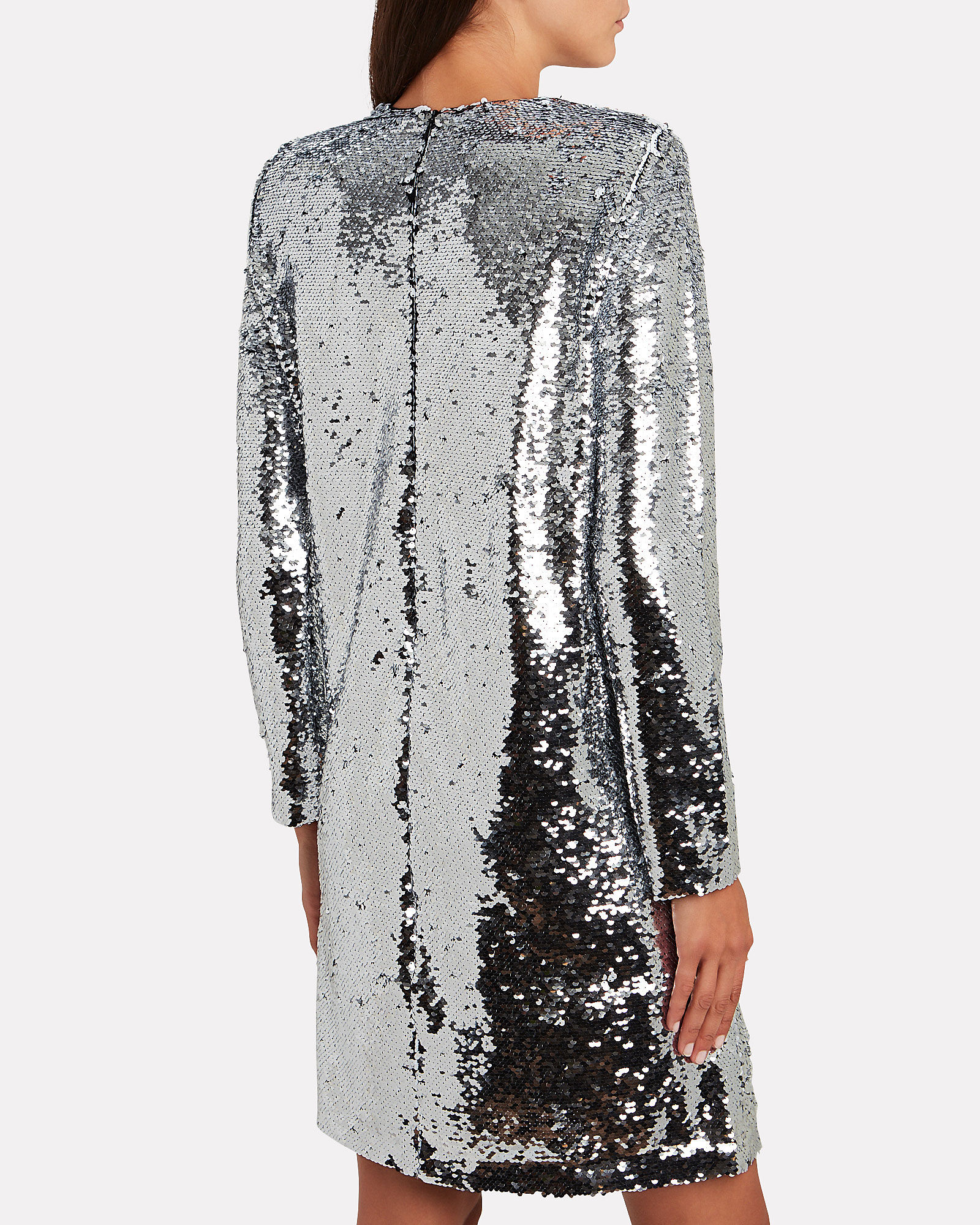 Mirrored Sequin Shift Dress, SILVER, hi-res