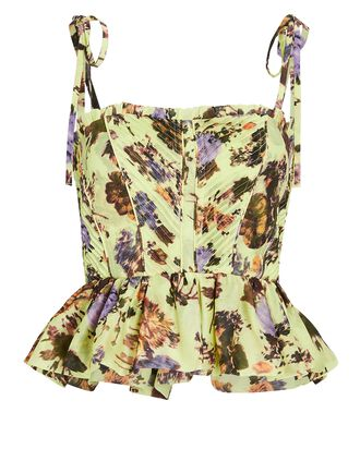 Effie Floral Silk-Cotton Tank Top, LIGHT GREEN, hi-res