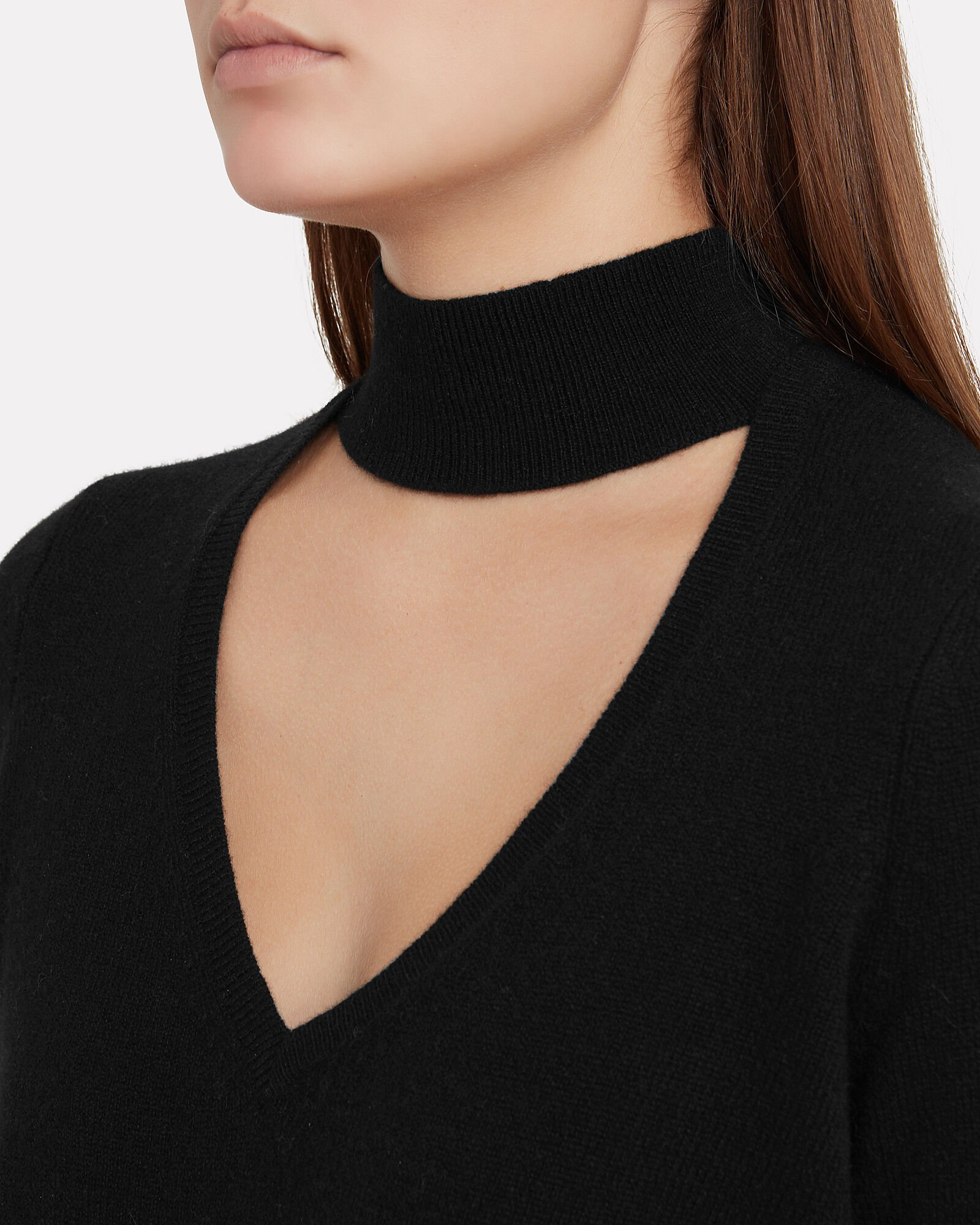 Antonia Cut-Out Cashmere Sweater, BLACK, hi-res