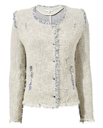 Agnette Tweed Boxy Jacket, WHITE, hi-res