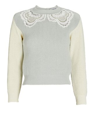 Guipure Lace-Trimmed Rib Knit Sweater, LIGHT GREY/IVORY, hi-res