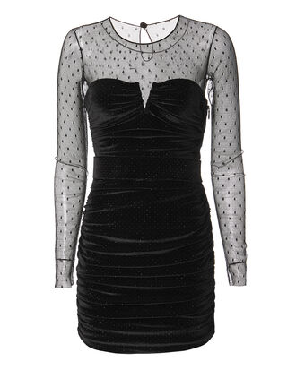 Velvet Cocktail Dress, BLACK, hi-res