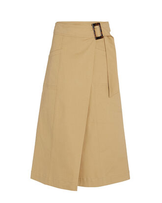 Cora Cotton Wrap Skirt, BEIGE, hi-res