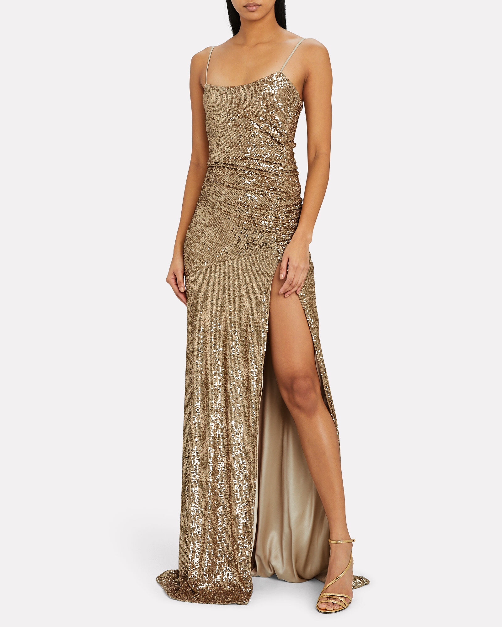 Ruched Sequin Gown, GOLD, hi-res