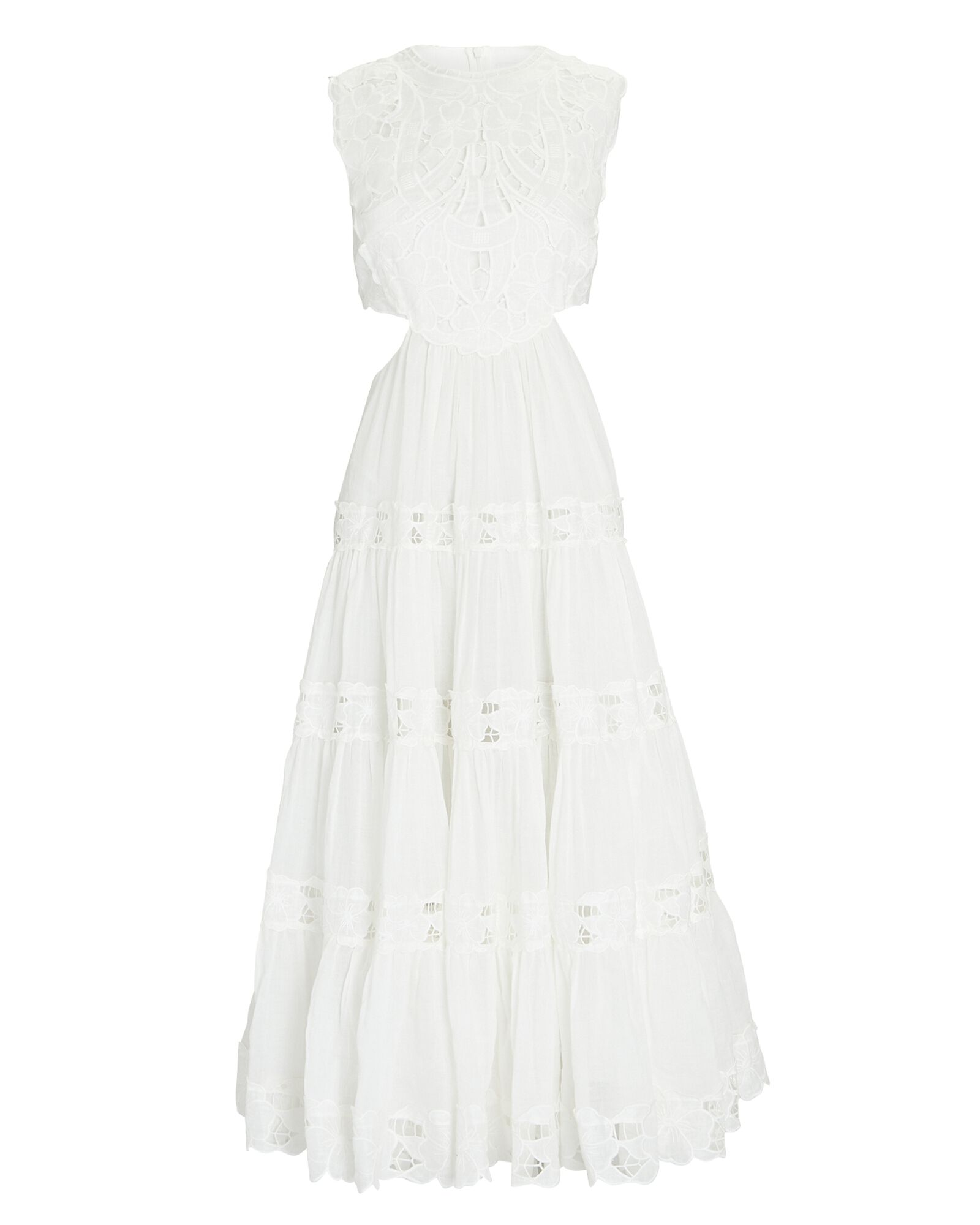 Cassia Embroidered Linen Midi Dress, IVORY, hi-res
