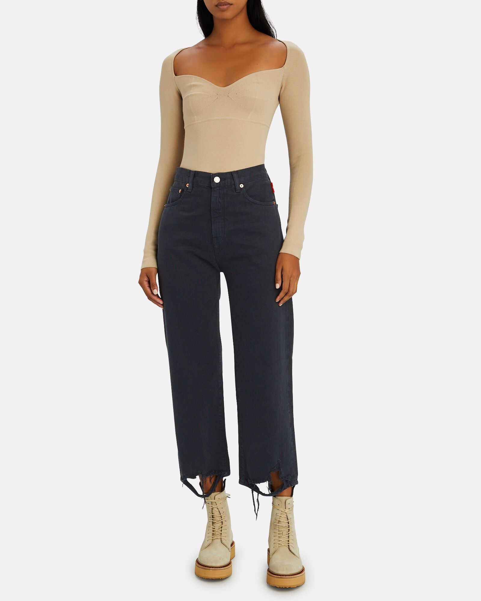 Pierce Distressed High-Rise Jeans, MIDNIGHT, hi-res