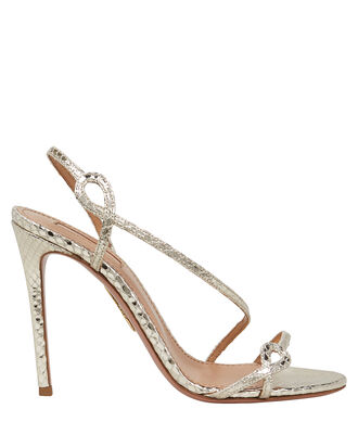 Serpentine 105 Embossed Metallic Sandals, SILVER, hi-res