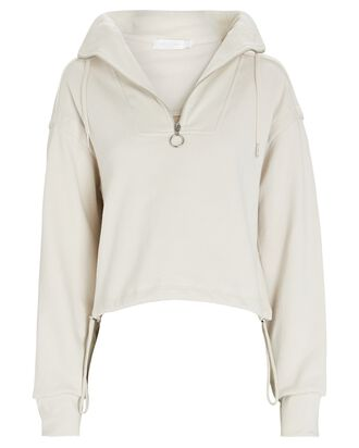 Zella Cropped Half-Zip Sweatshirt, LIGHT GREY, hi-res