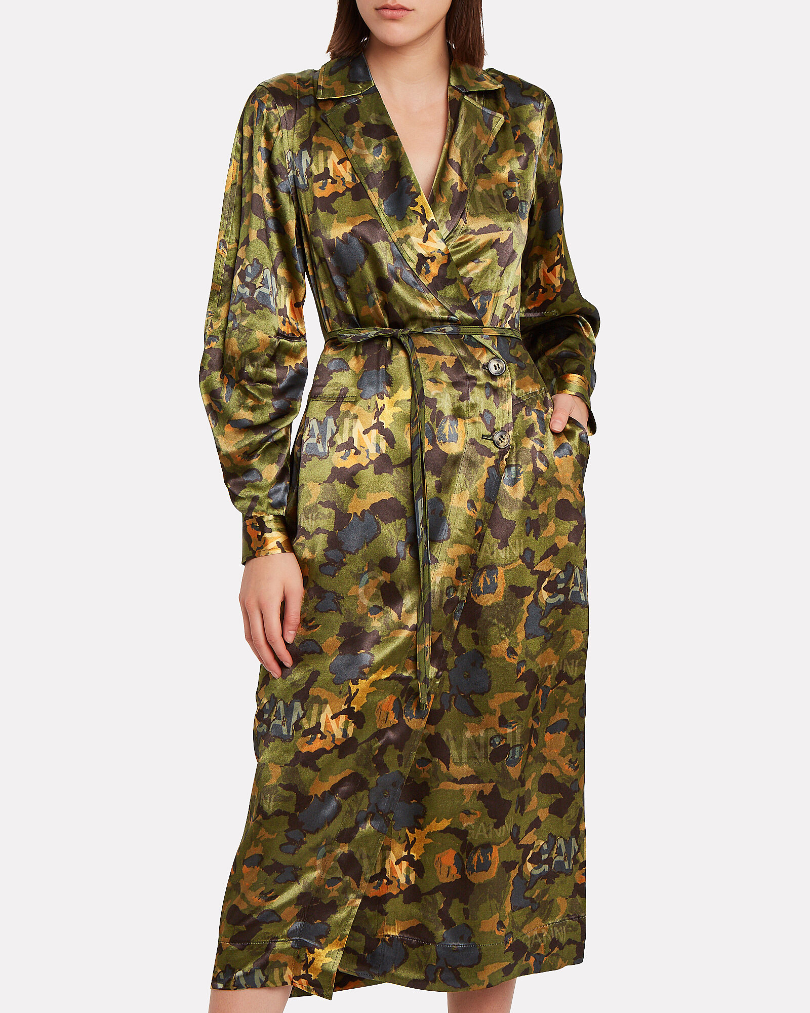 Camouflage Heavy Satin Shirt Dress, OLIVE/ARMY, hi-res