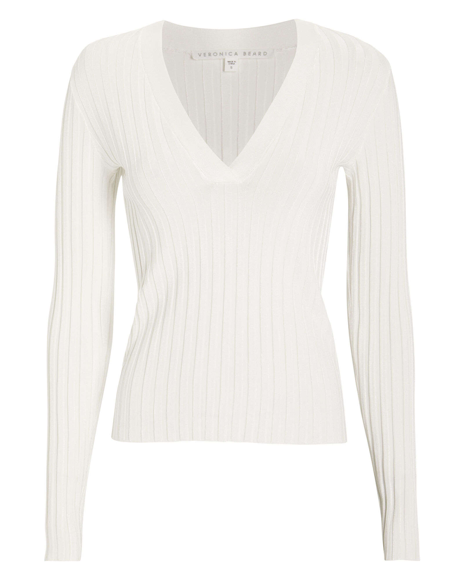 West Ribbed Sweater, IVORY, hi-res