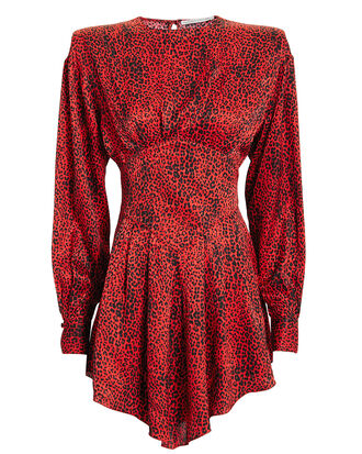 Leopard Silk Jacquard Dress, RED/BLACK, hi-res