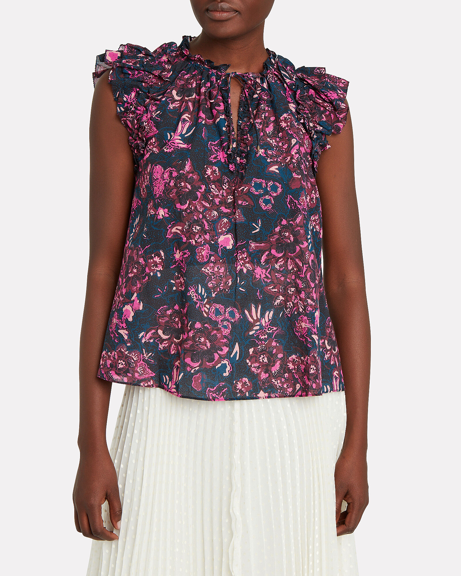 Rina Floral Printed Ruffle Top, MIDNIGHT/FLORAL, hi-res