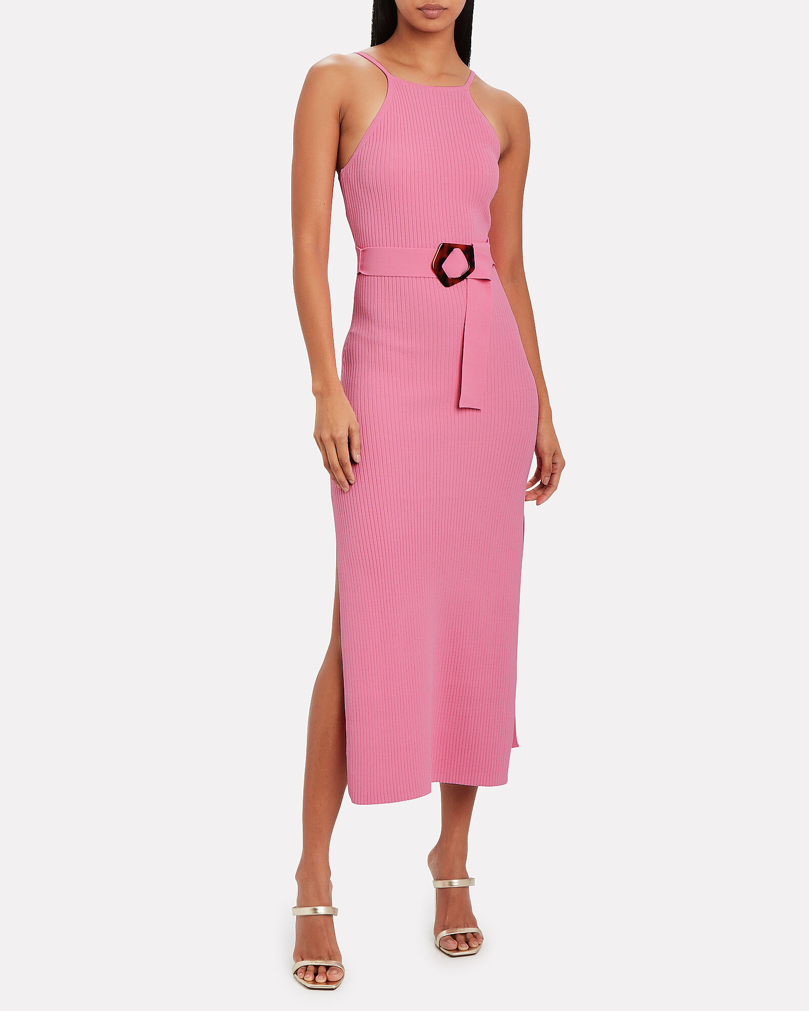 Lily Knit Midi Dress, NEON PINK, hi-res