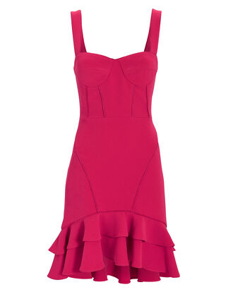 Pink Bustier Ruffle Hem Mini Dress, PINK-DRK, hi-res