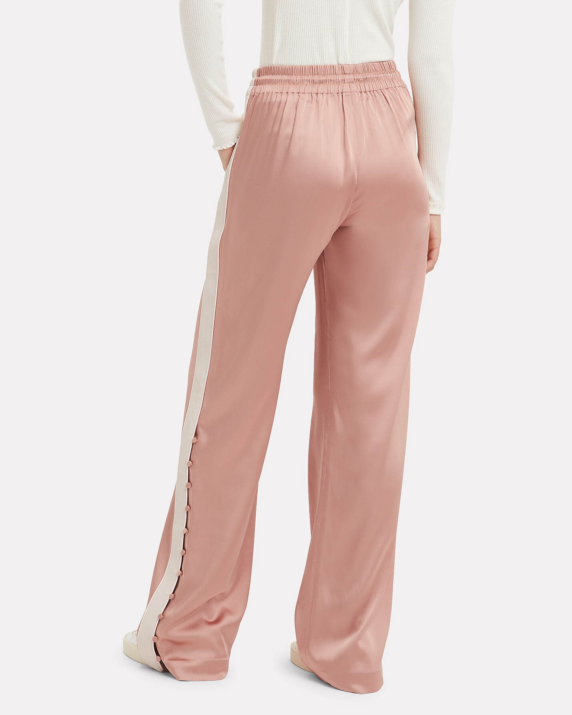Deconstructed Satin Track Pants, BLUSH/IVORY, hi-res