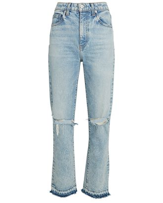 Lara Distressed Slim Straight-Leg Jeans, VOYAGE, hi-res