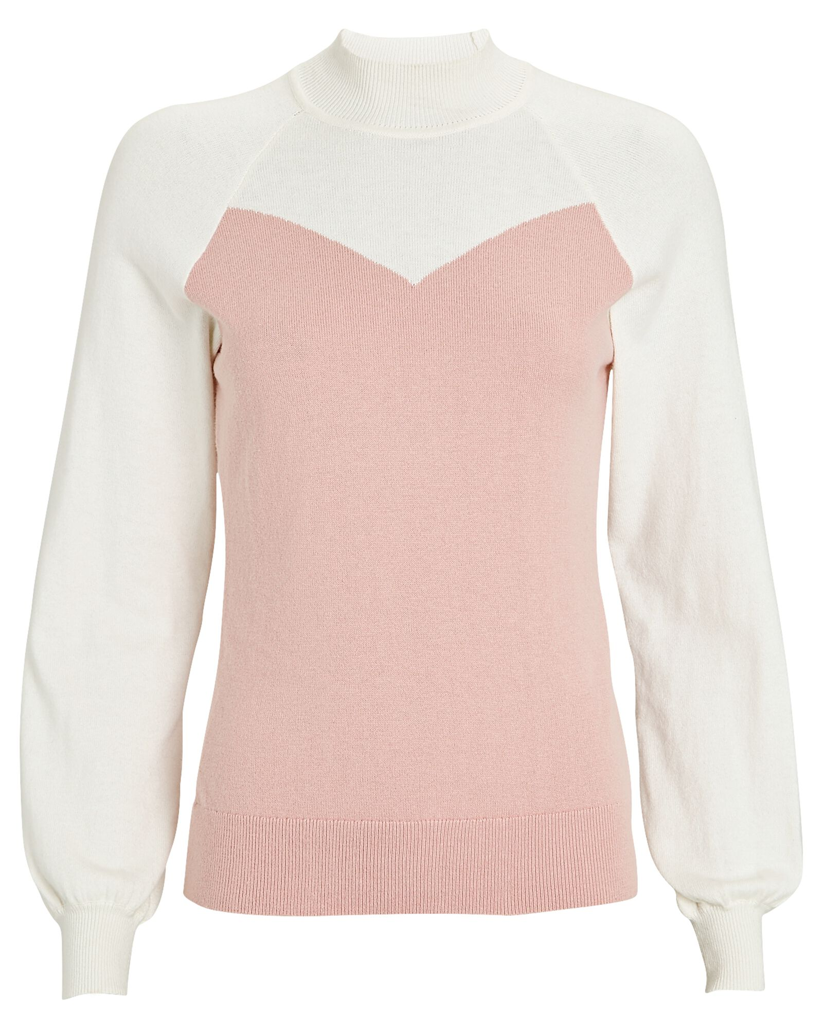 Intarsia Mock Neck Sweater, IVORY/BLUSH, hi-res
