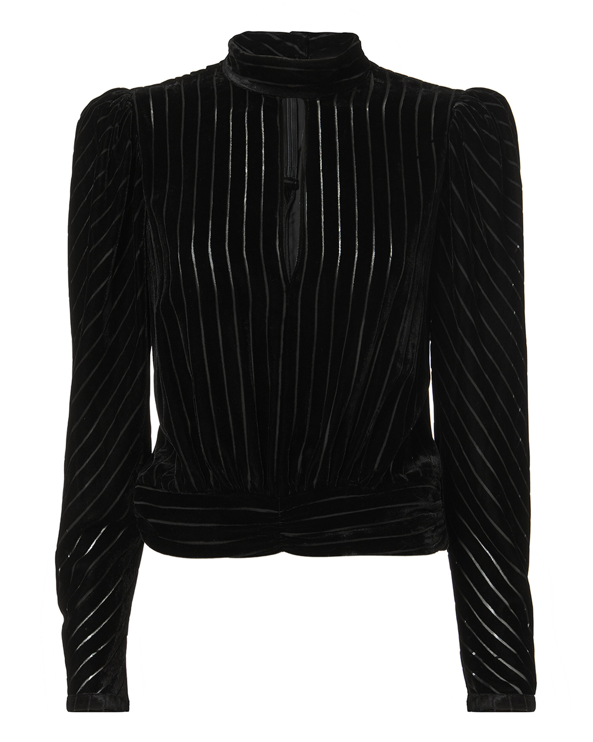 Velvet High-Neck Striped Long-Sleeve Party Top, Noir
