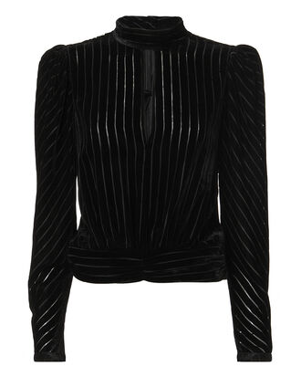Smocked Waist Velvet Top, BLACK, hi-res
