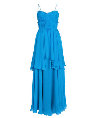 Kiko Pleated Silk Chiffon Gown, BLUE-MED, hi-res