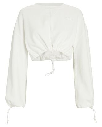 Bungee Cropped Cotton Terry Sweatshirt, WHITE, hi-res