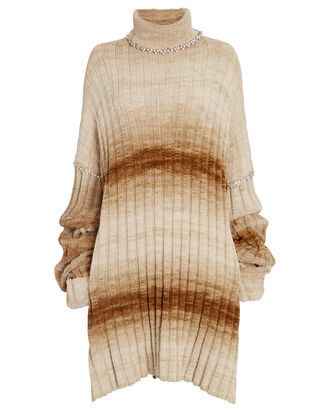 Crystal-Embellished Turtleneck Tunic, BEIGE/BROWN, hi-res