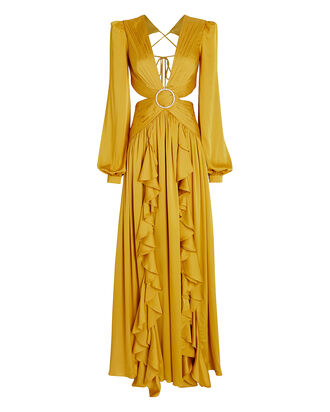 Ruffled Cut-Out Gown, YELLOW, hi-res