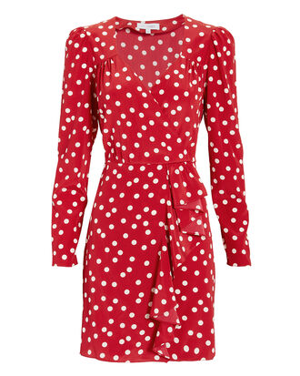 Florence Polka Dot Mini Dress, RED, hi-res