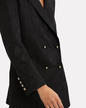 Leopard Jacquard Double-Breasted Blazer, BLACK, hi-res