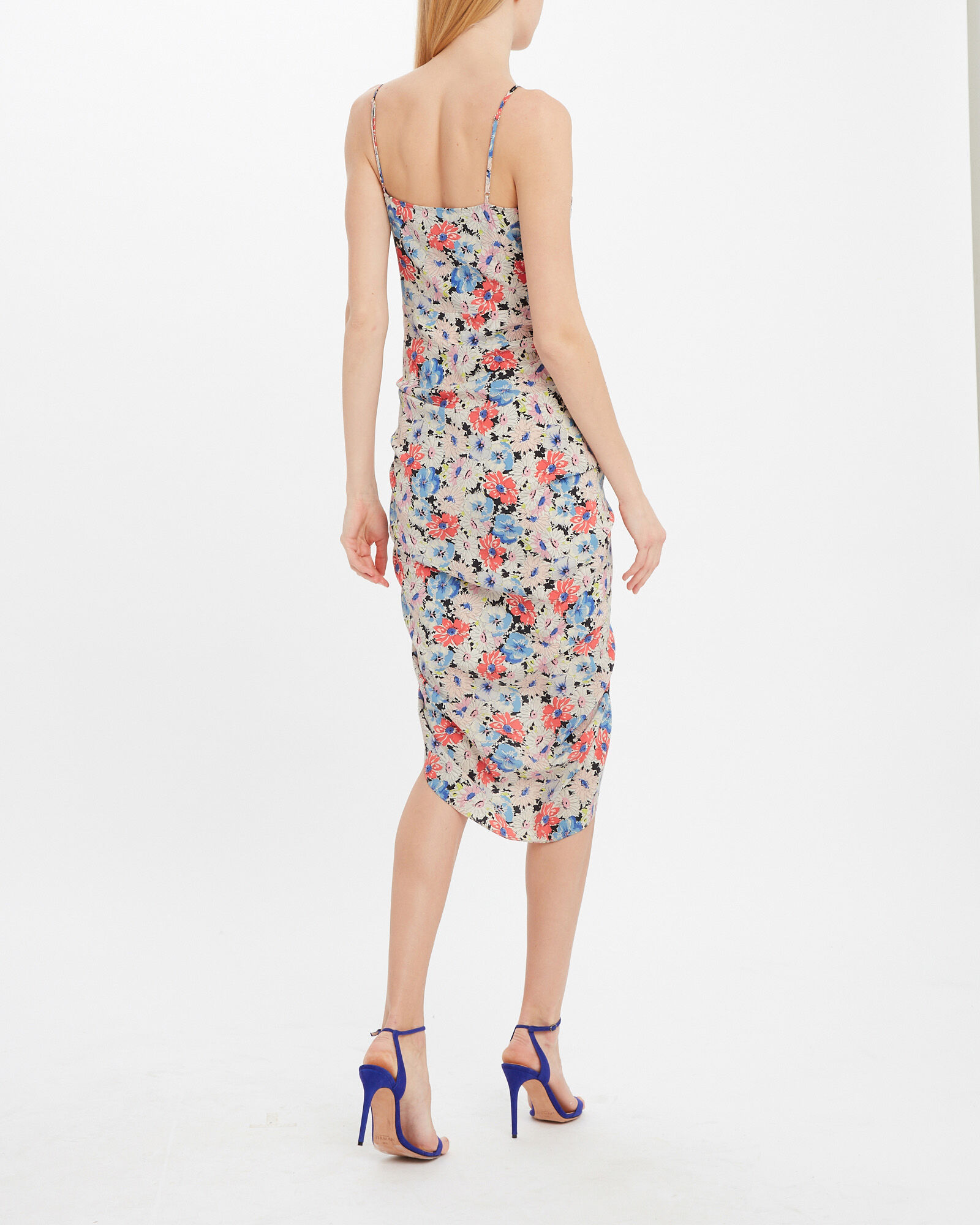 Annabelle Silk Ruched Floral Dress, RED/BLUE FLORAL, hi-res