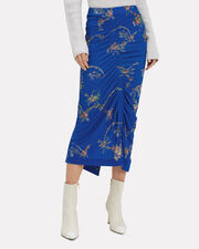 Tracy Ruched Midi Skirt, BLUE/FLORAL, hi-res