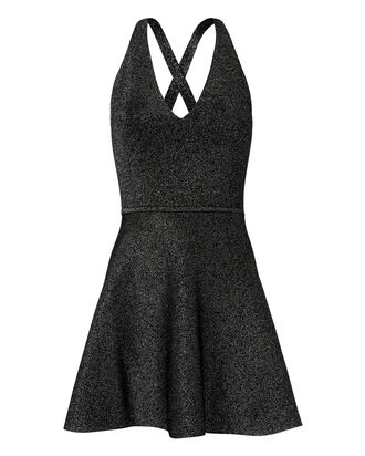 Deep-V Fit-and-Flare Dress, BLACK, hi-res