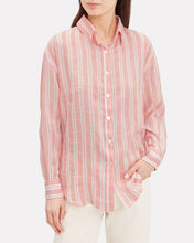 Doro Striped Button Front Shirt, CORAL, hi-res