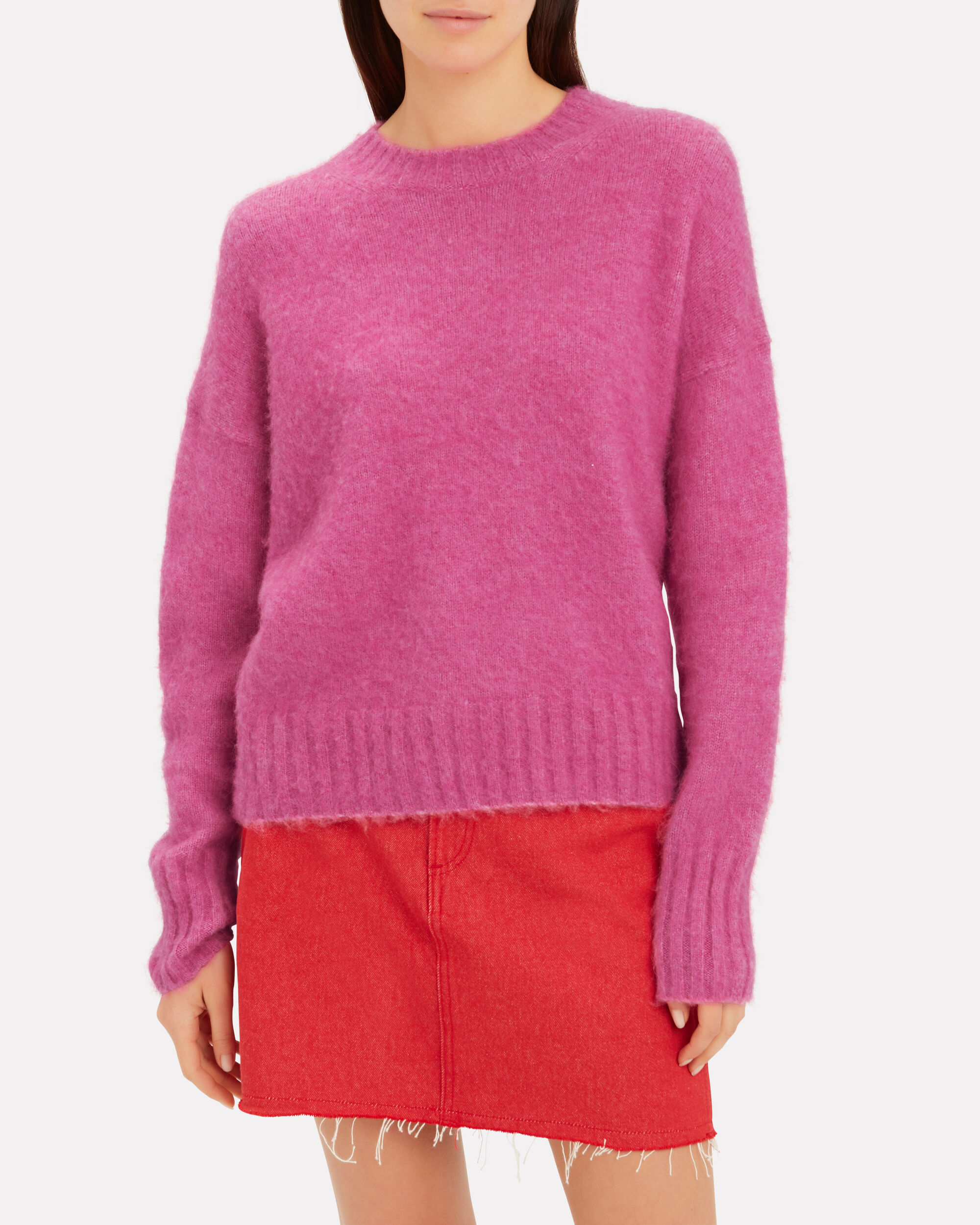 Brushed Wool Pink Sweater, PINK, hi-res