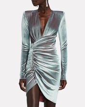 Draped Velvet Long Sleeve Dress, GREY, hi-res