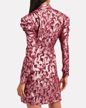 Brocade Mini Wrap Dress, BURGUNDY, hi-res
