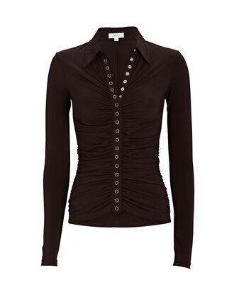 Larsen Ruched Polo Top, BROWN, hi-res