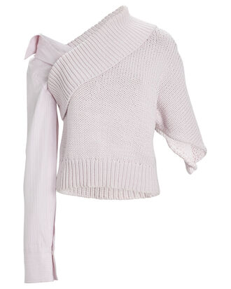 Iris Asymmetric Poplin Sleeve Sweater, PINK, hi-res