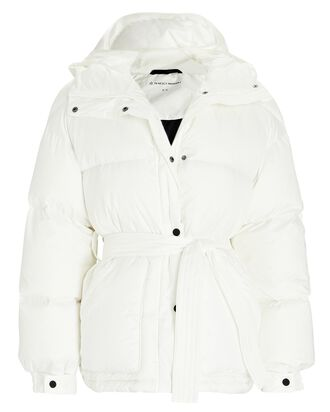 Belted Hooded Puffer Coat, WHITE, hi-res