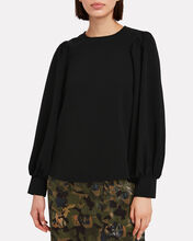 Heavy Crepe Blouse, BLACK, hi-res