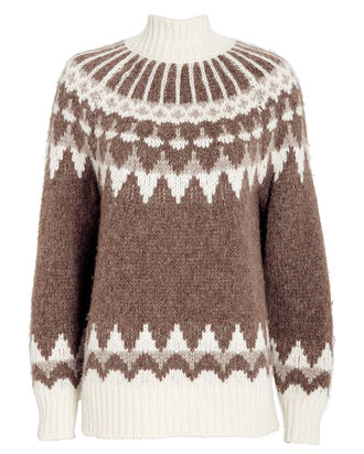 Fair Isle Jacquard Turtleneck Sweater, BROWN, hi-res