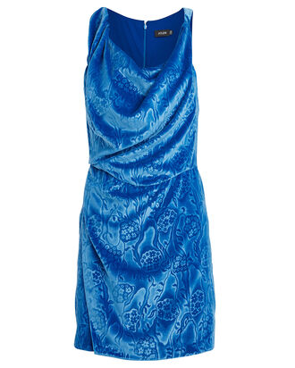 Ruched Embossed Velvet Dress, BLUE-MED, hi-res