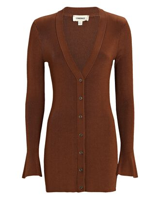 Lucas Rib Knit Long Cardigan, BROWN, hi-res