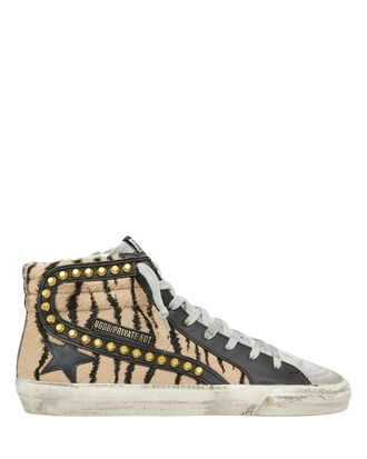 Slide Studded Tiger Stripe High-Top Sneakers, BLACK/BROWN/GREY, hi-res