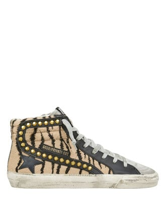 Slide Studded Tiger Stripe High-Top Sneakers, BROWN, hi-res