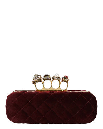 Bordeaux Velvet Matelassé Four Ring Clutch, BORDEAUX, hi-res