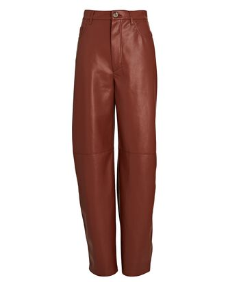 Barrel Leg Vegan Leather Pants, BURGUNDY, hi-res